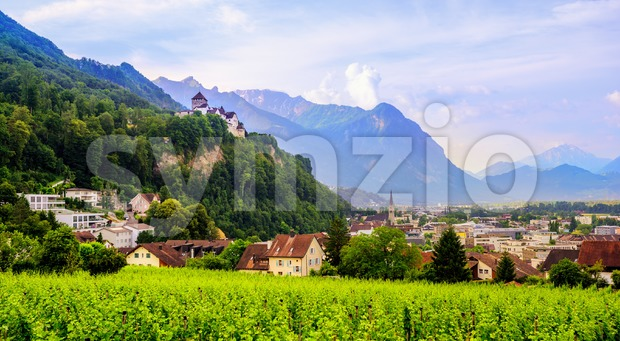 Vaduz town, the capital of Liechtenstein, Europe Stock Photo
