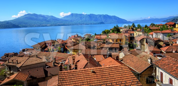 Red tiled roofs of Cannero old town, Lago Maggiore, Italy Stock Photo