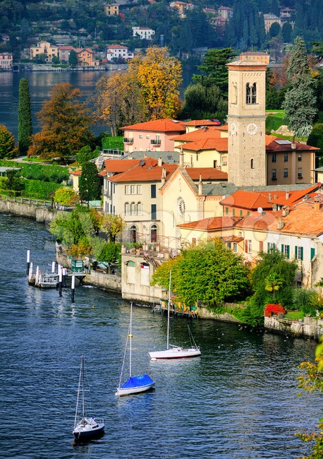 Como Lake coast by Bellagio, Milan, Italy Stock Photo