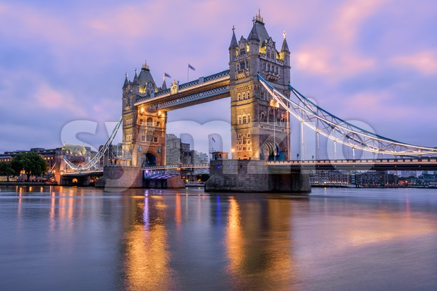 Tower Bridge in London, UK, in sunrise morning light Stock Photo