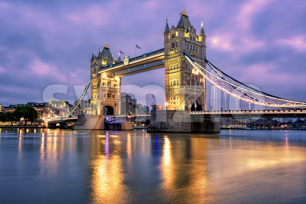 Tower Bridge over Thames river in London, UK Stock Photo
