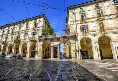 City street in the center of Turin, Italy Stock Photo