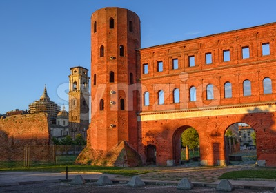 The Palatine Towers and the Cathedral of Turin, Turin, Italy Stock Photo
