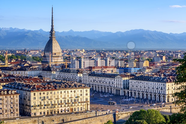 Cityscape of Turin and Alps mountains, Turin, Italy Stock Photo