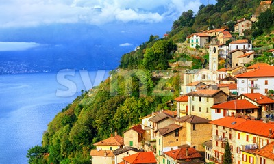 A small town on the Lake Como in northern Italy near Milan, Italy Stock Photo