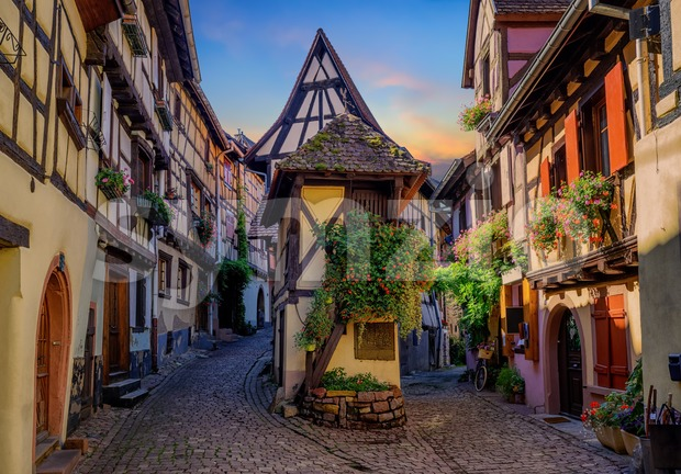 Colorful half-timbered houses in Eguisheim, Alsace, France Stock Photo