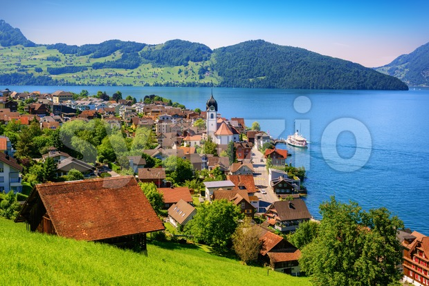 Picturesque landscape with Lake Lucerne and the Alps mountains, Switzerland