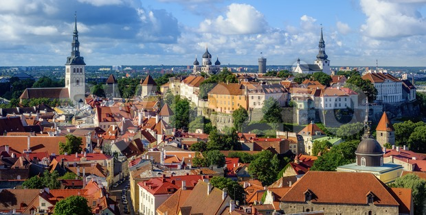Panorama of the Tallinn Old Town, Estonia Stock Photo