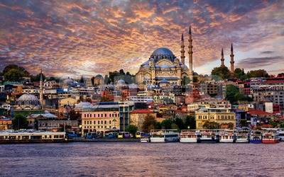 Istanbul city on dramatic sunset, Turkey Stock Photo