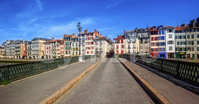 Colorful houses in Bayonne, Basque Country, France Stock Photo