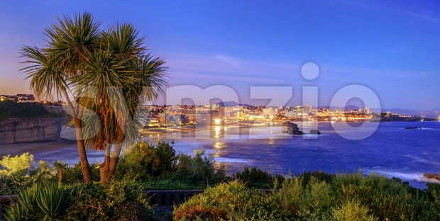 Biarritz city and Bay of Biscay on late evening, France Stock Photo