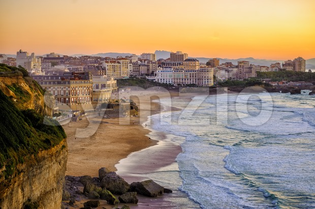 Sunset over Biarritz beaches, France, Atlantic coast Stock Photo