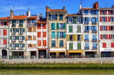 Colorful traditional facades in Bayonne, France Stock Photo