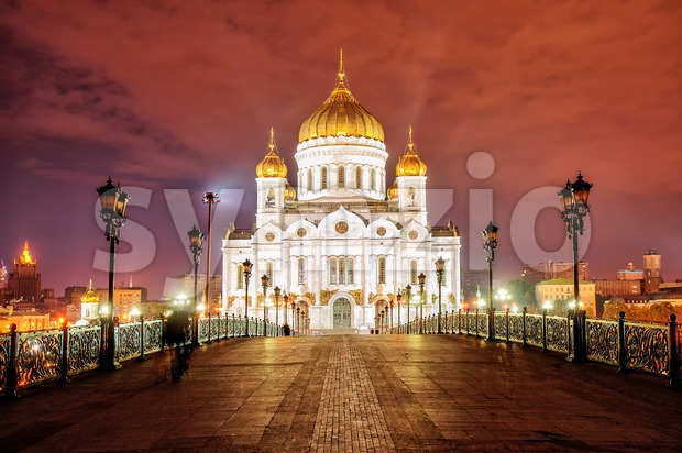 Christ the Saviour Cathedral in Moscow, Russia, at night Stock Photo