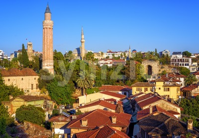 Old Town of Antalya, Turkey, with Yivli Minaret and Clock Tower Stock Photo