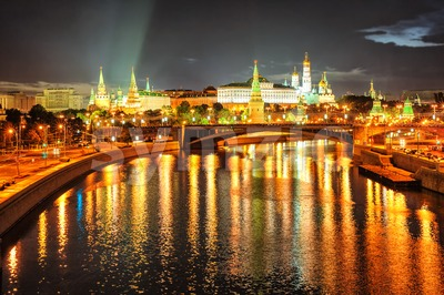 Moscow Kremlin at night, Russia Stock Photo