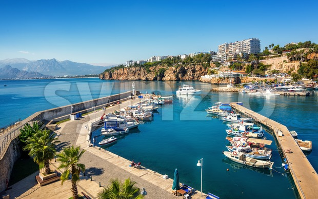 Antalya city on Mediterranean sea, Turkey Stock Photo