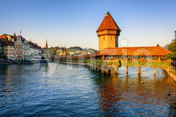 Chapel Bridge in the Old Town of Lucerne, Switzerland Stock Photo