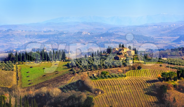 Panoramic view of rural landscape in Tuscany, Italy