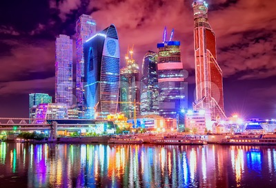 Moscow city at night, Russia Stock Photo