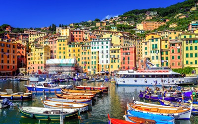 Colorful Old Town of Camogli by Genoa, Liguria, Italy Stock Photo