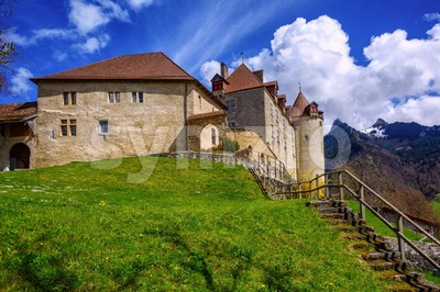Castle of Gruyeres, Fribourg canton, Switzerland Stock Photo