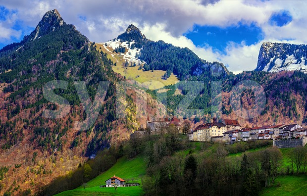 Gruyeres town in the Swiss Alps, Switzerland Stock Photo