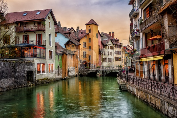 Annecy medieval Old Town, Savoy, France Stock Photo