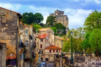 Medieval old town and castle of Beaucaire, France Stock Photo