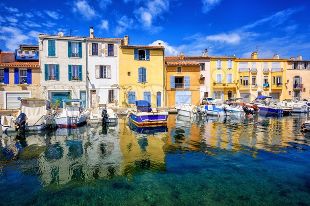 Colorful houses in Martigues Old Town, Provence, France Stock Photo