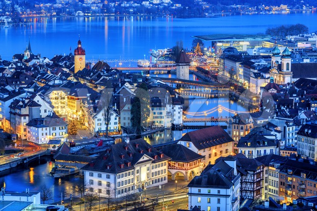 Lucerne Old town illuminated on Christmas, Switzerland Stock Photo