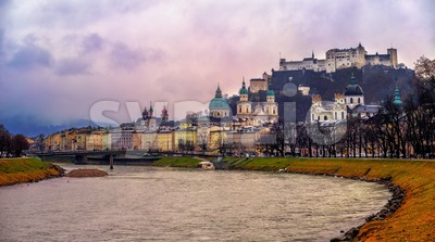 Historical Old Town of Salzburg, Austria Stock Photo