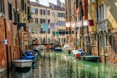 Venice, Italy, washes hanging over canal Stock Photo