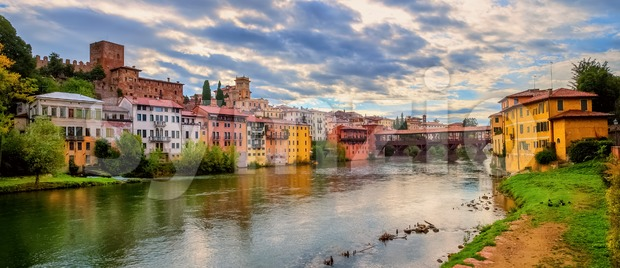 Panoramic view of Bassano del Grappa, Italy Stock Photo