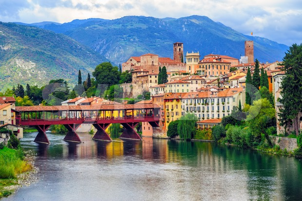 Bassano del Grappa Old Town and Ponte degli Alpini bridge, Italy Stock Photo