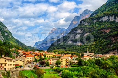 Castellavazzo town in italian Dolomites Alps, Italy Stock Photo