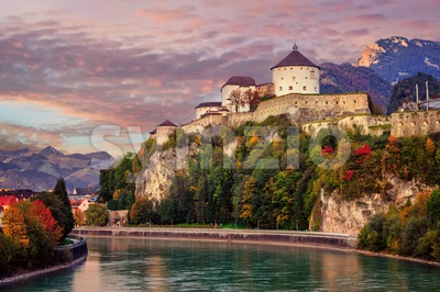 Kufstein Old Town on Inn river, Alps mountains, Austria Stock Photo