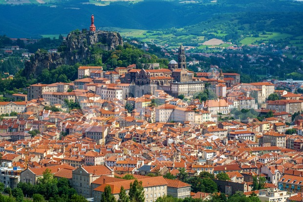 Le Puy-en-Velay town, France, panoramic view Stock Photo