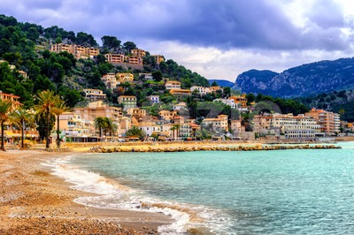 Port de Soller sand beach, Mallorca, Spain Stock Photo