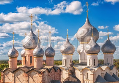 Russian orthodox church domes Stock Photo