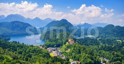 Hohenschwangau castle in the Alps mountains, Bavaria, Germany Stock Photo