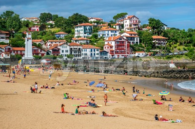 Sand beach in the basque town Saint-Jean-de-Luz, France Stock Photo