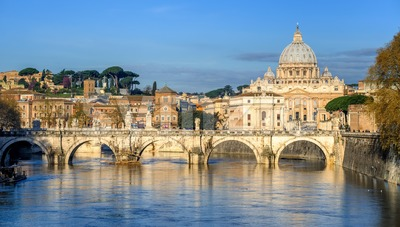 St Peter Basilica and St Angelo Bridge in Vatican, Rome, Italy Stock Photo