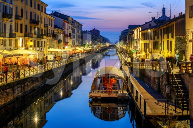 Milan city, Italy, Naviglo Grande canal in the late evening Stock Photo