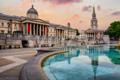 Trafalgar square, London, England, on sunrise Stock Photo