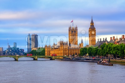 London, England, view over Thames river to Big Ben and Westminster bridge Stock Photo