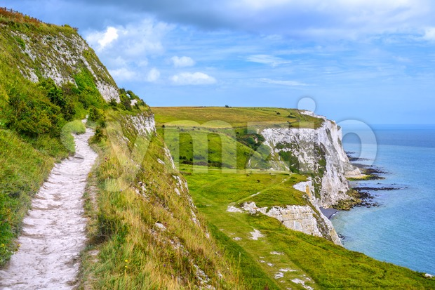 White cliffs of Dover nature park, England Stock Photo