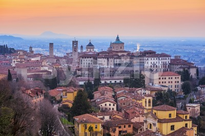 Bergamo Old Town, Lombardy, Italy, in dramatic sunrise light Stock Photo