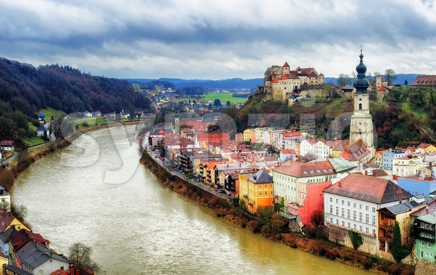 Burghausen, historical german town on Salzach river, Bavaria, Germany