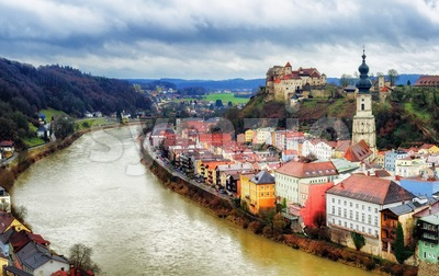 Burghausen, historical german town on Salzach river, Bavaria, Germany Stock Photo